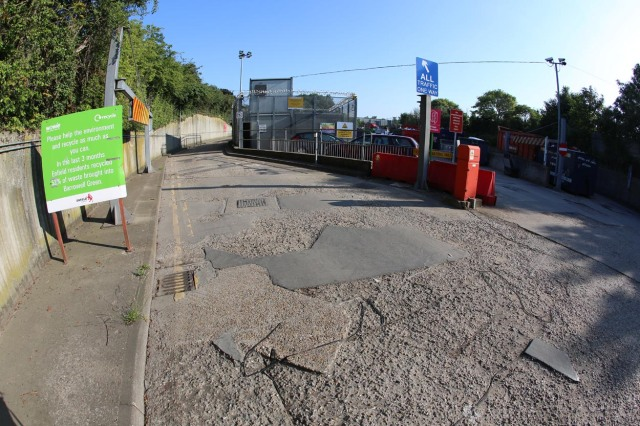 Repair to concrete slab at recycling centre