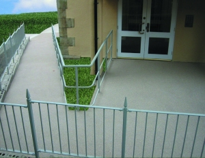 Resin bonded surfacing, ramp